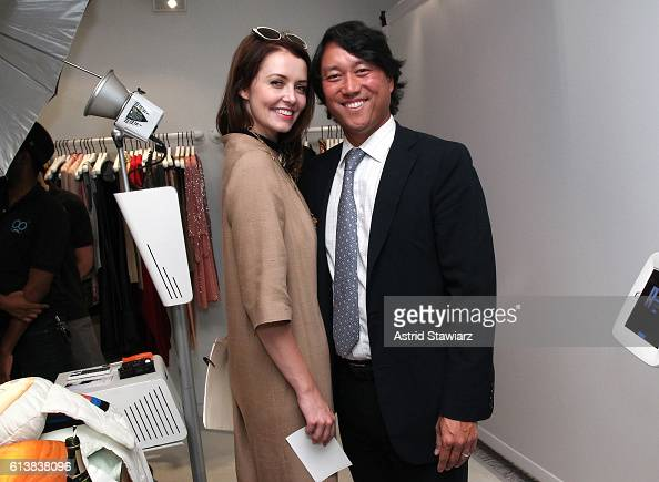 Lindsey Boylan and Lee Roy Kim attend as Sara Blakely and Alice Olivia celebrate the launch of 'The Belly Art Project' on October 10 2016 in New York...