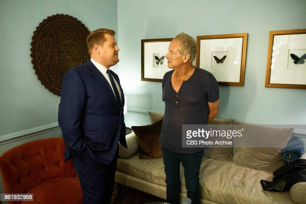 Lindsey Buckingham chats in the green room with James Corden during 'The Late Late Show with James Corden' Thursday October 12 2017 On The CBS...