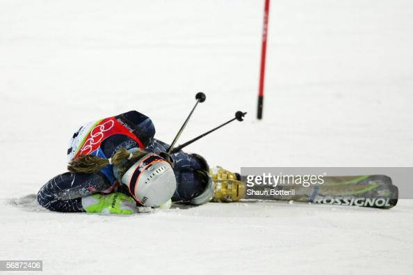 Lindsey C Kildow of the United States falls during her second run of the Slalom section of the Womens Combined Alpine Skiing competition on Day 7 of...