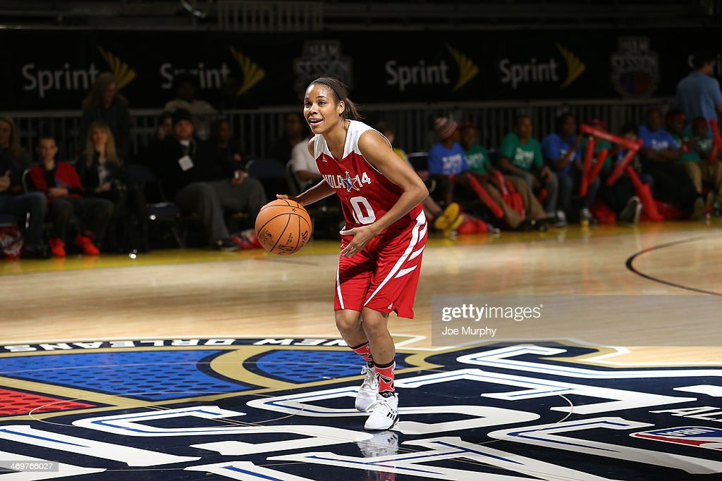 Lindsey Harding of the Los Angeles Sparks and the West Team drives against the East Team during the NBA Cares Special Olympics Unified Sports Basketball Game at Sprint Arena during the 2014 NBA All-Star Jam Session at the Ernest N. Morial Convention Center on February 16, 2014 in New Orleans, Louisiana.