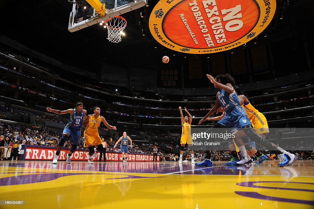<a gi-track='captionPersonalityLinkClicked' href=/galleries/search?phrase=Lindsey+Harding&family=editorial&specificpeople=704302 ng-click='$event.stopPropagation()'>Lindsey Harding</a> #10 of the Los Angeles Sparks attempts a free-throw during a game against the Minnesota Lynx at Staples Center on September 12, 2013 in Los Angeles, California.