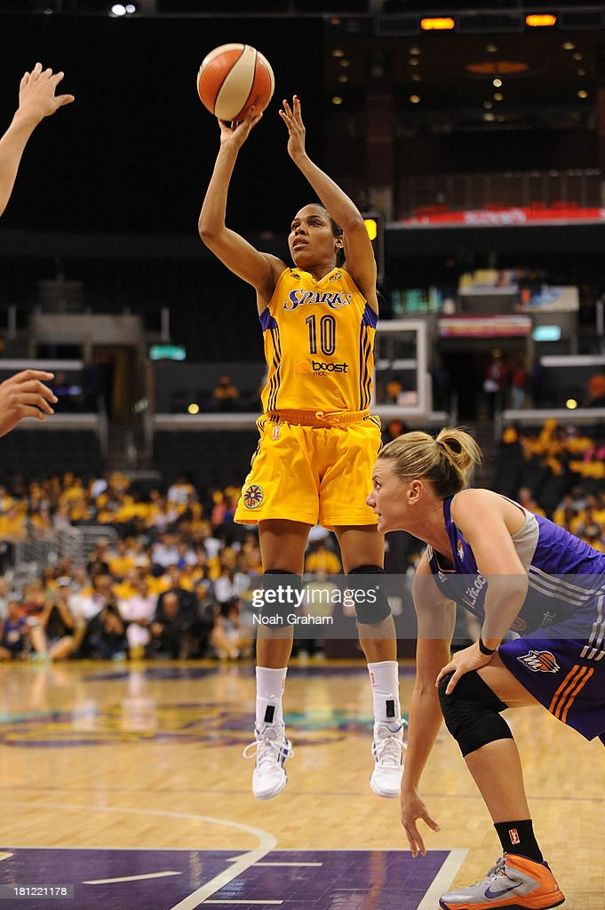 <a gi-track='captionPersonalityLinkClicked' href=/galleries/search?phrase=Lindsey+Harding&family=editorial&specificpeople=704302 ng-click='$event.stopPropagation()'>Lindsey Harding</a> #10 of the Los Angeles Sparks attempts a shot during a game against the Phoenix Mercury at STAPLES Center on September 19, 2013 in Los Angeles, California.
