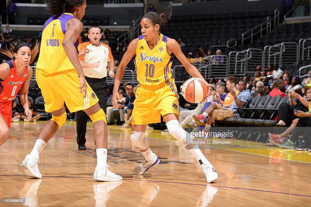 <a gi-track='captionPersonalityLinkClicked' href=/galleries/search?phrase=Lindsey+Harding&family=editorial&specificpeople=704302 ng-click='$event.stopPropagation()'>Lindsey Harding</a> #10 of the Los Angeles Sparks drives against the Washington Mystics at STAPLES Center on July 17, 2014 in Los Angeles, California.