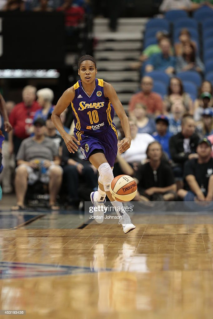 Lindsey Harding #10 of the Los Angeles Sparks handles the ball against the Minnesota Lynx during the WNBA game on July 8, 2014 at Target Center in Minneapolis, Minnesota.
