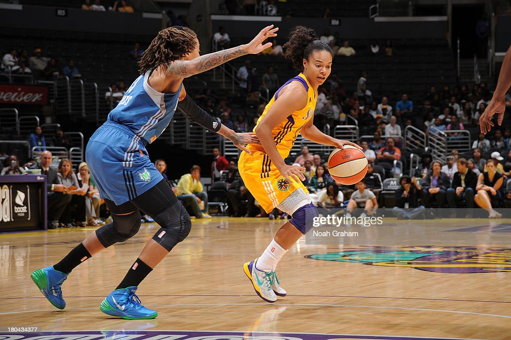 <a gi-track='captionPersonalityLinkClicked' href=/galleries/search?phrase=Lindsey+Harding&family=editorial&specificpeople=704302 ng-click='$event.stopPropagation()'>Lindsey Harding</a> #10 of the Los Angeles Sparks handles the basketball during a game against the Minnesota Lynx at Staples Center on September 12, 2013 in Los Angeles, California.