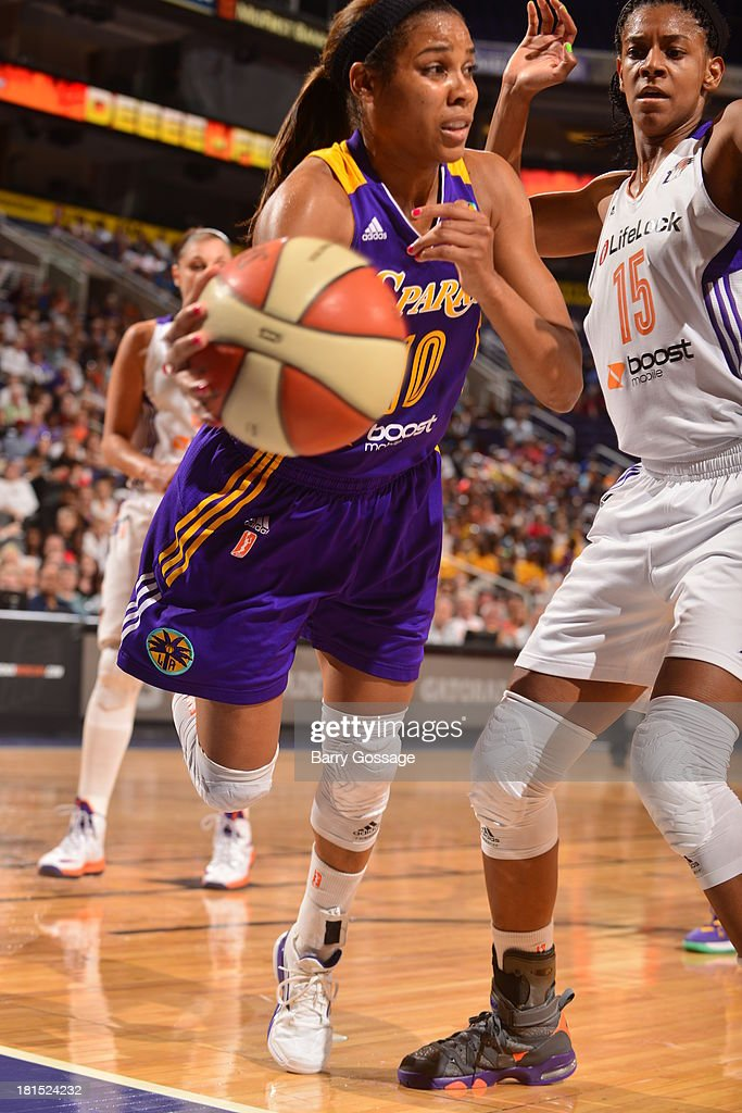 <a gi-track='captionPersonalityLinkClicked' href=/galleries/search?phrase=Lindsey+Harding&family=editorial&specificpeople=704302 ng-click='$event.stopPropagation()'>Lindsey Harding</a> #10 of the Los Angeles Sparks saves a loose ball against Briana Gilbreath #15 of the Phoenix Mercury in Game 2 Round 1 of the 2013 WNBA Playoffs on September 13, 2013 at U.S. Airways Center in Phoenix, Arizona.