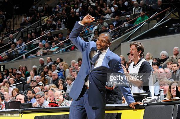 Lindsey Hunter Head Coach of the Phoenix Suns celebrates on the sideline during the game against the San Antonio Spurs on February 27 2013 at the ATT...