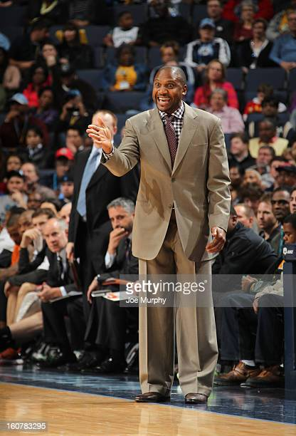 Lindsey Hunter head coach of the Phoenix Suns coaches his team during a game against the Memphis Grizzlies on February 5 2013 at FedExForum in...