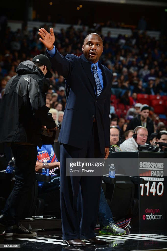 Lindsey Hunter, Head Coach of the Phoenix Suns, directs his team during the game against the Sacramento Kings on January 23, 2013 at Sleep Train Arena in Sacramento, California.