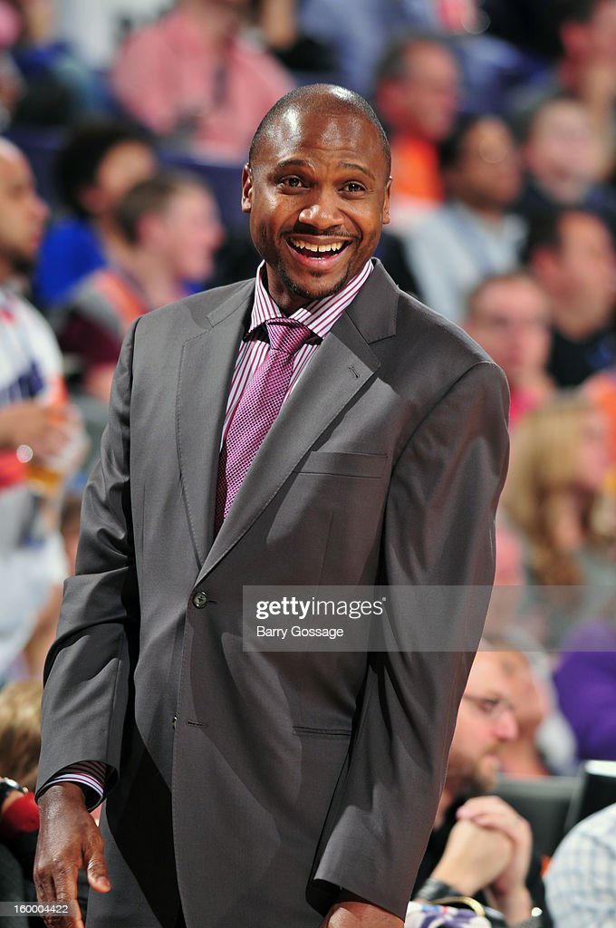 Lindsey Hunter, interim head coach of the Phoenix Suns, has a laugh during a time out against the Los Angeles Cippers on January 24, 2013 at U.S. Airways Center in Phoenix, Arizona.