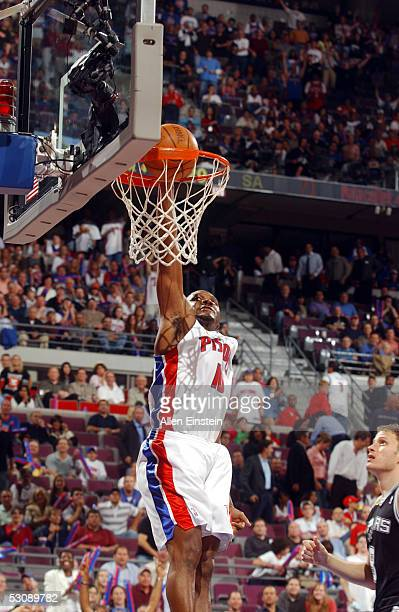 Lindsey Hunter of the Detroit Pistons drives to the basket against the San Antonio Spurs in Game four of the 2005 NBA Finals on June 16 2005 at the...