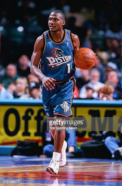 Lindsey Hunter of the Detroit Pistons during the game against the Charlotte Hornets on April 14 1999 at Charlotte Coliseum in Charlotte North Carolina