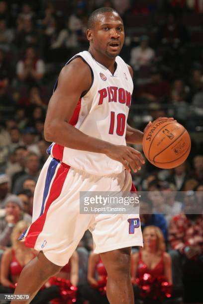 Lindsey Hunter of the Detroit Pistons moves the ball against the New Jersey Nets during the game on December 2 2007 at the Palace of Auburn Hills in...