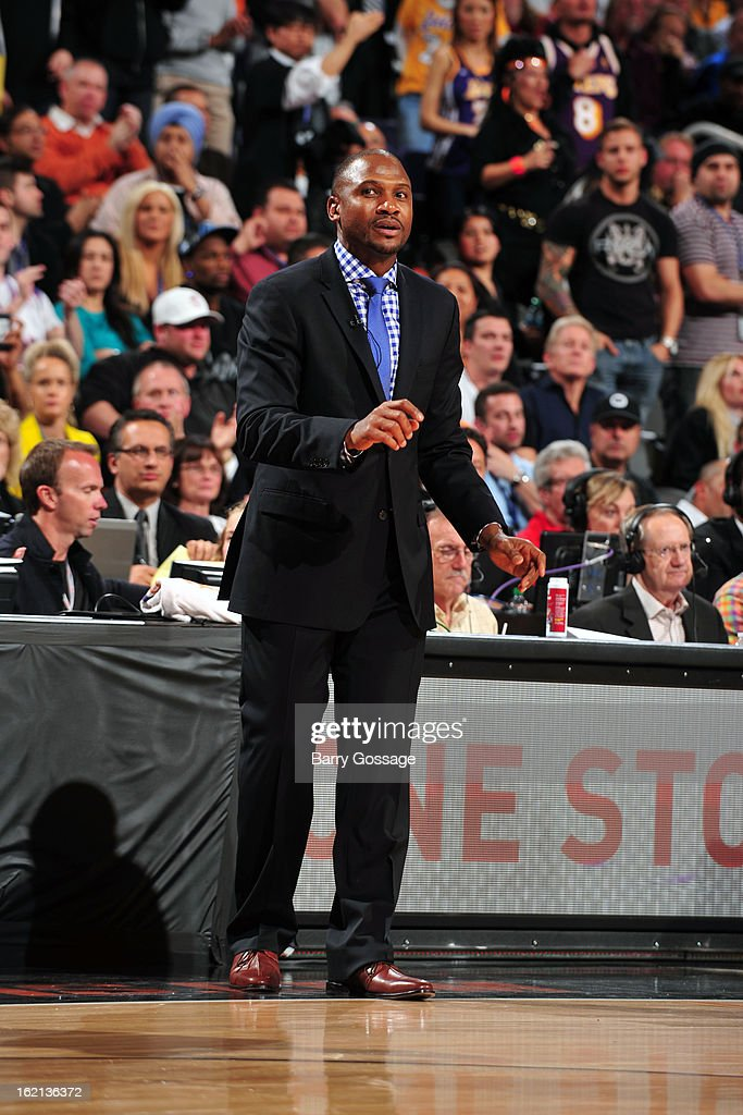 Lindsey Hunter of the Phoenix Suns calls plays from the bench during the game against the Los Angeles Lakers on January 30, 2013 at U.S. Airways Center in Phoenix, Arizona.