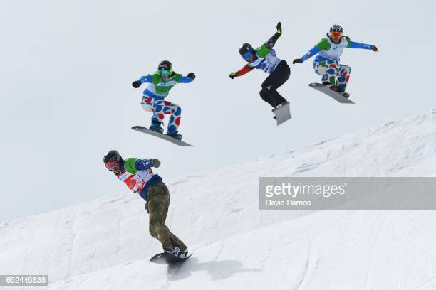 Lindsey Jacobellis of the United States Michela Moioli of Italy Carle Brenneman of Canada and Raffaella Brutto of Italy compete in the Women's...
