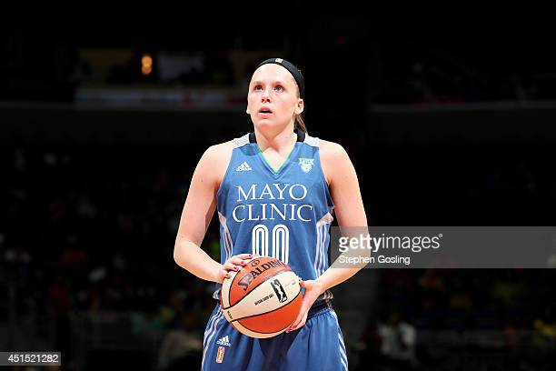 Lindsey Moore of the Minnesota Lynx attempts a free throw against the Washington Mystics Verizon Center on May 16 2014 in Washington DC NOTE TO USER...
