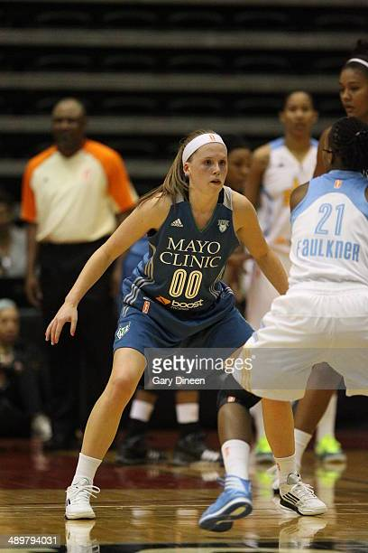 Lindsey Moore of the Minnesota Lynx defends during the WNBA Preseason Tournament 2014 championship game on May 11 2014 at ESPN Wide World of Sports...