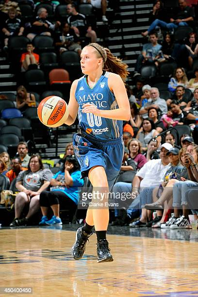 Lindsey Moore of the Minnesota Lynx dribbles against the San Antonio Stars at the ATT Center on June 1 2014 in San Antonio Texas NOTE TO USER User...