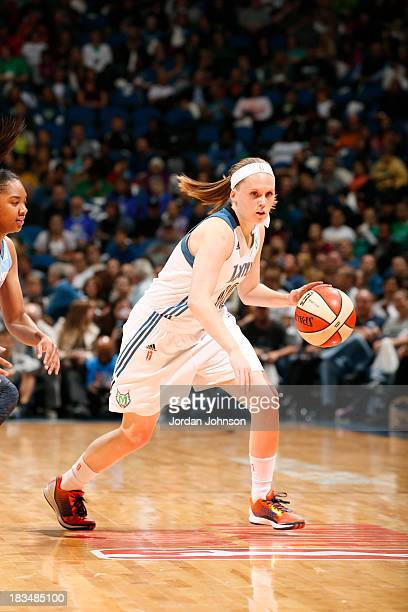 Lindsey Moore of the Minnesota Lynx drives against the Atlanta Dream during Game 1 of the 2013 WNBA Finals on October 6 2013 at Target Center in...