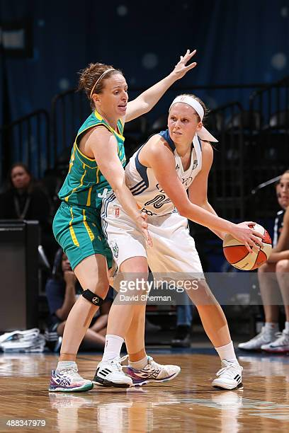 Lindsey Moore of the Minnesota Lynx looks to pass against the Australian Opals during the WNBA preseason game on May 5 2014 at Target Center in...
