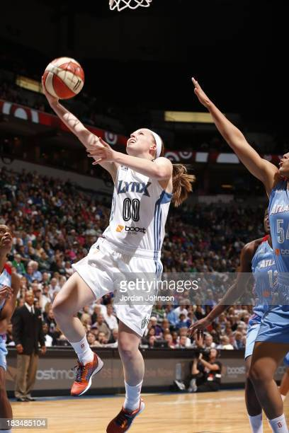 Lindsey Moore of the Minnesota Lynx shoots a layup against the Atlanta Dream during the 2013 WNBA Finals on October 6 2013 at Target Center in...