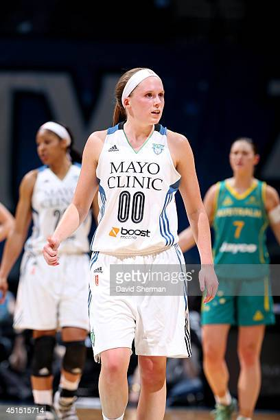 Lindsey Moore of the Minnesota Lynx stands on the court during a game against the Australian Opals on May 5 2014 at Target Center in Minneapolis...
