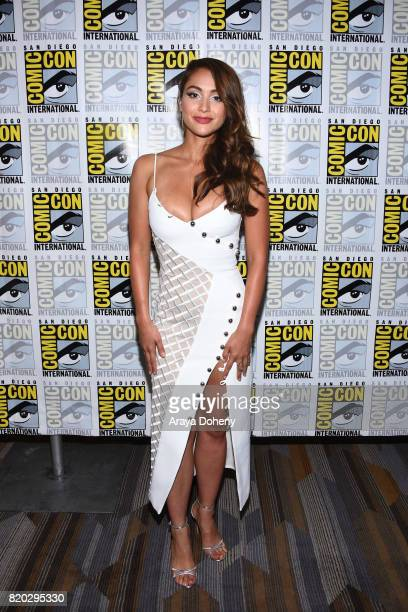 Lindsey Morgan attends The 100 press conference at ComicCon International 2017 on July 21 2017 in San Diego California