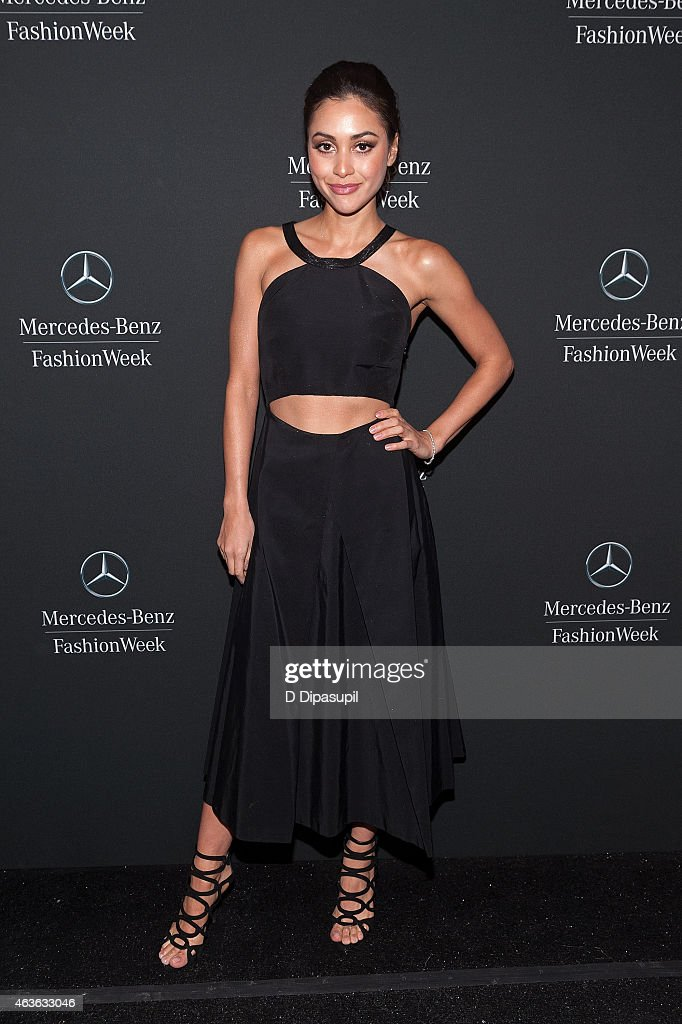 Lindsey Morgan is seen during MercedesBenz Fashion Week Fall 2015 at Lincoln Center for the Performing Arts on February 16 2015 in New York City