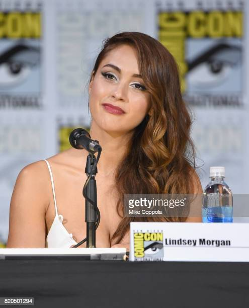 Lindsey Morgan speaks onstage at ComicCon International 2017 'The 100' panel at San Diego Convention Center on July 21 2017 in San Diego California