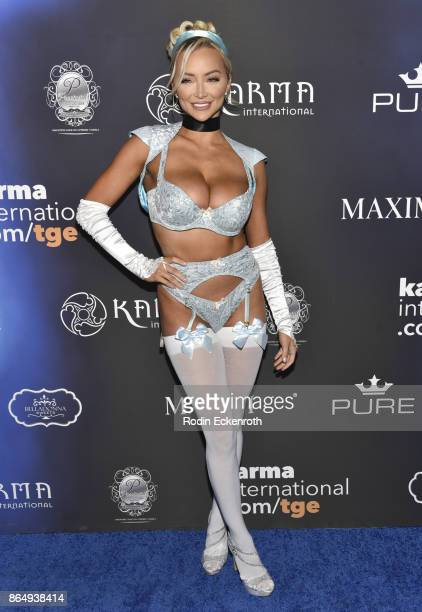 Lindsey Pelas arrives at the 2017 MAXIM Halloween Party at LA Center Studios on October 21 2017 in Los Angeles California