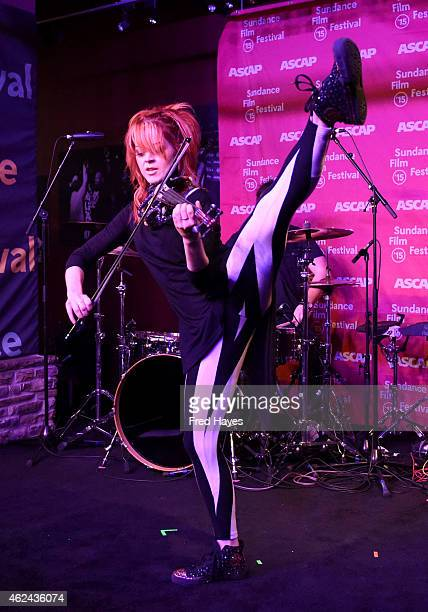 Lindsey Stirling and Drew Steen perform during day 7 of the ASCAP Music Cafe during the 2015 Sundance Film Festival on January 28 2015 in Park City...