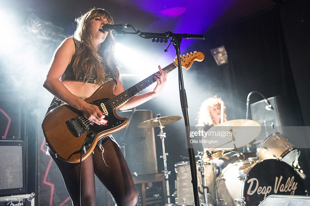 Lindsey Troy and Julie Edwards of Deap Vally perform during the bands November 2013 UK tour at 02 Academy on November 7, 2013 in Birmingham, England.