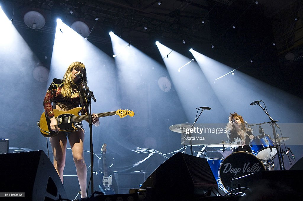 Lindsey Troy and Julie Edwards of Deap Vally perform on stage in concert at Razzmatazz on March 20, 2013 in Barcelona, Spain.
