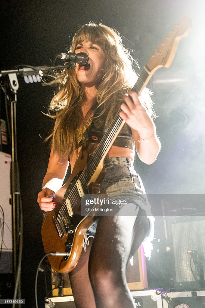 Lindsey Troy of Deap Vally performs during the bands November 2013 UK tour at 02 Academy on November 7, 2013 in Birmingham, England.
