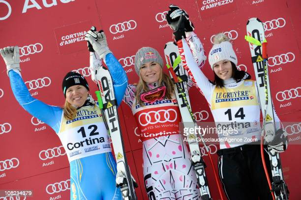Lindsey Von of USA Anna Fenninger of Austria and Anja Paerson of Sweden pose after the Audi FIS Alpine Ski World Cup Women's SuperG on January 21...