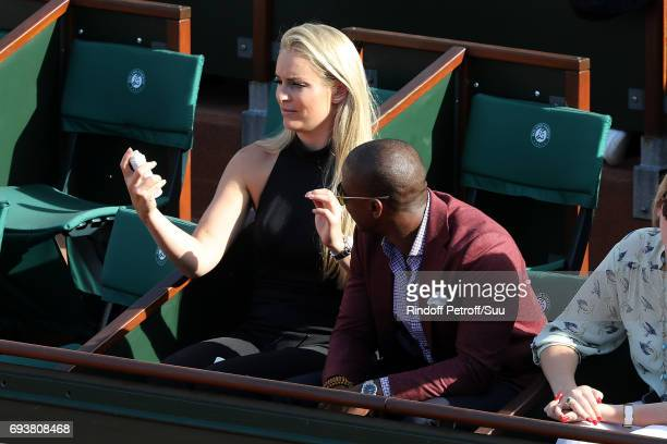 Lindsey Vonn and companion Kenan Smith are spotted at Roland Garros on June 8 2017 in Paris France