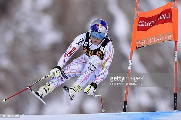 Lindsey Vonn from the US competes in the Downhill of the FIS World Cup Alpine Women's Super Combined on December 18 in Vald'Isere French Alps / AFP /...