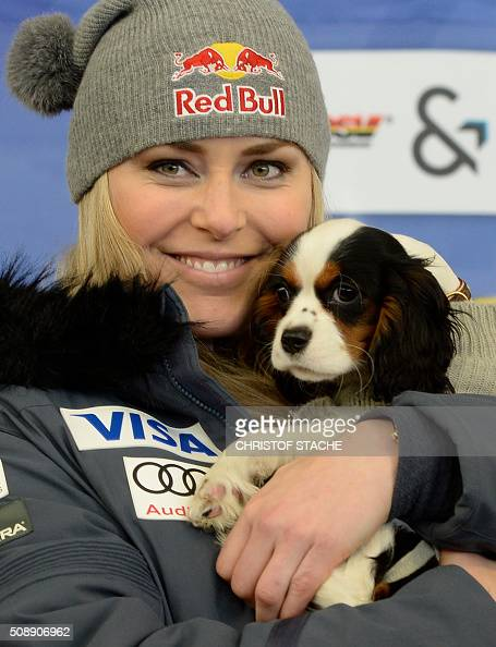 Lindsey Vonn from USA poses with her dog Lucie during a press talk after the Ladies Super G competition race at the FIS Alpine Skiing World Cup in...