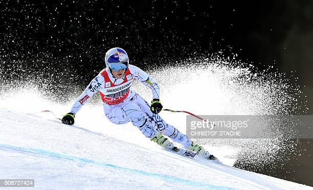 Lindsey Vonn from USA races down the hill during the ladies downhill competition race at the FIS Alpine Skiing World Cup in GarmischPartenkirchen...
