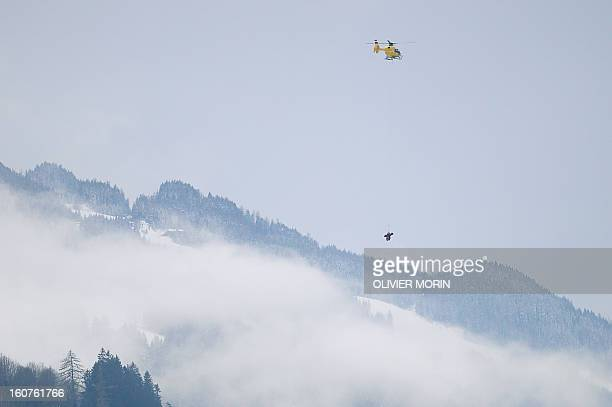 US Lindsey Vonn is evacuated by a helicopter after falling during the women's SuperG event of the 2013 Ski World Championships in Schladming Austria...