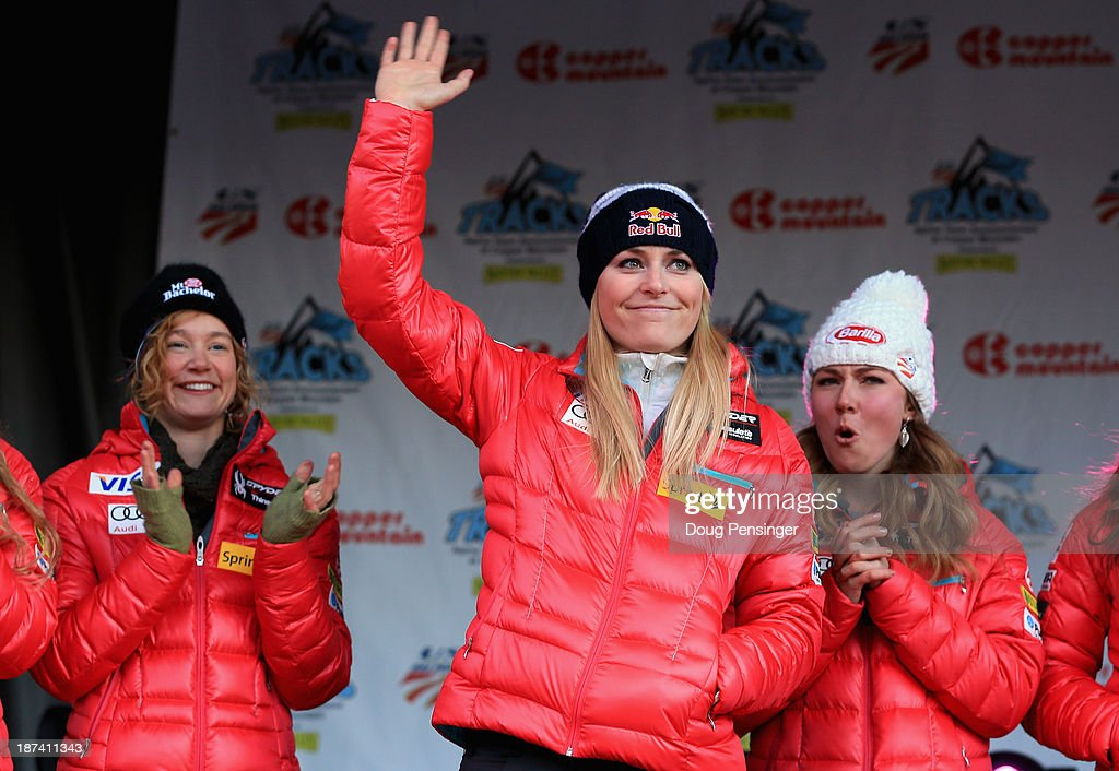<a gi-track='captionPersonalityLinkClicked' href=/galleries/search?phrase=Lindsey+Vonn&family=editorial&specificpeople=4668171 ng-click='$event.stopPropagation()'>Lindsey Vonn</a> (R) is introduced along with Laurenne Ross (L) and <a gi-track='captionPersonalityLinkClicked' href=/galleries/search?phrase=Mikaela+Shiffrin&family=editorial&specificpeople=7472698 ng-click='$event.stopPropagation()'>Mikaela Shiffrin</a> (R) during the U.S. Alpine Ski Team Announcement and pep rally at Copper Mountain on November 8, 2013 in Copper Mountain, Colorado.