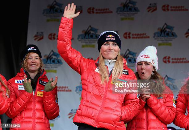 Lindsey Vonn is introduced along with Laurenne Ross and Mikaela Shiffrin during the US Alpine Ski Team Announcement and pep rally at Copper Mountain...