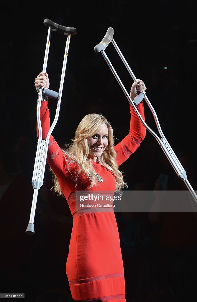 Lindsey Vonn is seen during Mercedes-Benz Fashion Week Fall 2014 at Lincoln Center for the Performing Arts on February 6, 2014 in New York City.