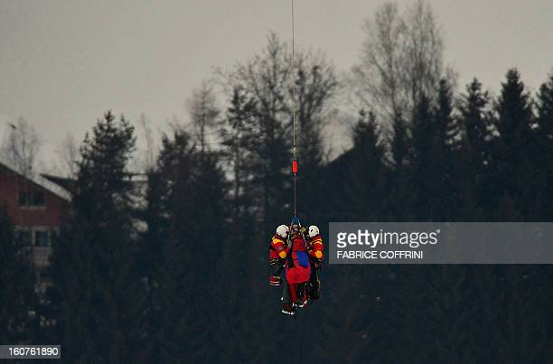 USA Lindsey Vonn is transported by helicopter after a fall during the women's SuperG event of the 2013 Ski World Championships in Schladming Austria...