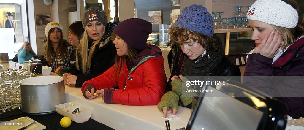 Lindsey Vonn, Julia Mancuso, Stacey Cook, Alice McKennis, Leanne Smith and Laurenne Ross of the Womens U.S. Ski Team spend an afternoon site seeing January 17. 2012 in Cortina d'Ampezzo, Italy.