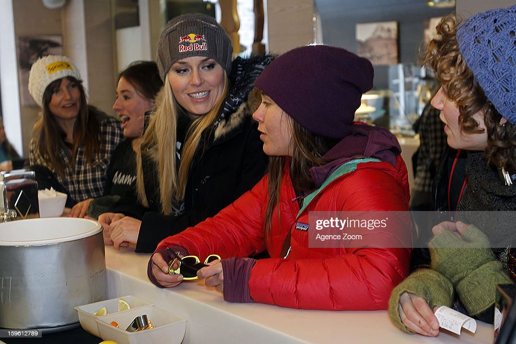 <a gi-track='captionPersonalityLinkClicked' href=/galleries/search?phrase=Lindsey+Vonn&family=editorial&specificpeople=4668171 ng-click='$event.stopPropagation()'>Lindsey Vonn</a>, <a gi-track='captionPersonalityLinkClicked' href=/galleries/search?phrase=Julia+Mancuso&family=editorial&specificpeople=214615 ng-click='$event.stopPropagation()'>Julia Mancuso</a>, Stacey Cook, <a gi-track='captionPersonalityLinkClicked' href=/galleries/search?phrase=Leanne+Smith+-+Skier&family=editorial&specificpeople=4687293 ng-click='$event.stopPropagation()'>Leanne Smith</a> and Laurenne Ross of the Womens U.S. Ski Team spend an afternoon site seeing January 17. 2012 in Cortina d'Ampezzo, Italy.