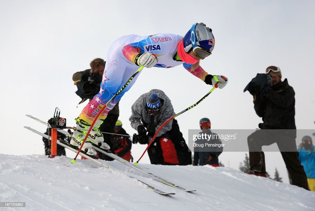 <a gi-track='captionPersonalityLinkClicked' href=/galleries/search?phrase=Lindsey+Vonn&family=editorial&specificpeople=4668171 ng-click='$event.stopPropagation()'>Lindsey Vonn</a> leaves the start as she takes a downhill training run at the U.S. Ski Team Speed Center at Copper Mountain on November 6, 2013 in Copper Mountain, Colorado.
