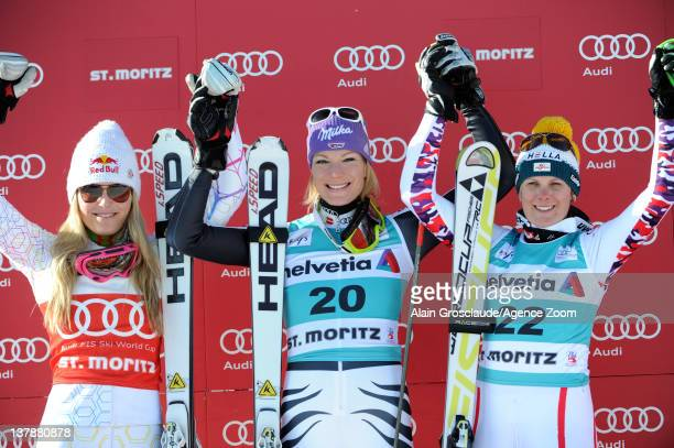 Lindsey Vonn Maria HoeflRiesch and Nicole Hosp on the podium during the Audi FIS Alpine Ski World Cup Women's Super Combined on January 29 2012 in...