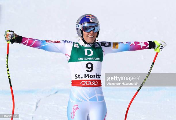 Lindsey Vonn of the United States celebrates at the finish in the Women's Downhill during the FIS Alpine World Ski Championships on February 12 2017...