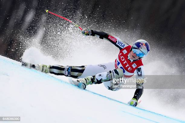 Lindsey Vonn of the United States competes during the Audi FIS Ski World Cup 2017 Ladies' Super G at the Jeongseon Alpine Centre on March 5 2017 in...